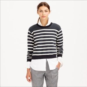 J. CREW- Charcoal/ White Stripe Crop Sweatershirt